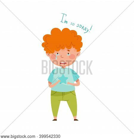 Little Red Haired Boy Crying Feeling Sorry And Expressing Regret For Bad Thing Vector Illustration