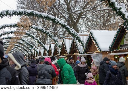 Christmas Fair, January 7, 2019, Lviv, Ukraine, People Celebrate New Year Holidays At The Fair