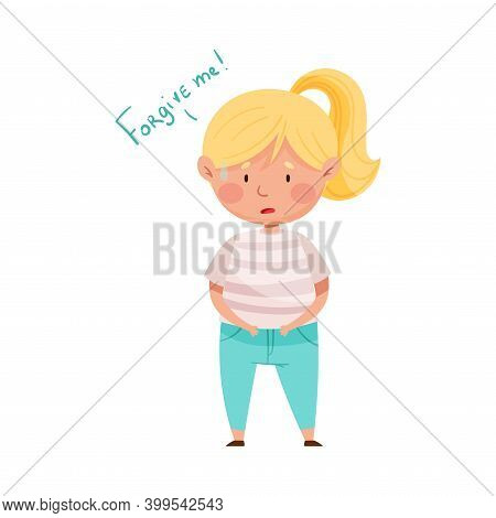 Embarrassed Girl Feeling Sorry And Expressing Regret Vector Illustration