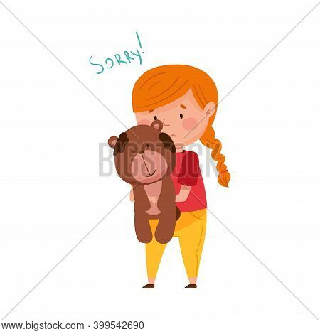 Confused Little Girl Feeling Sorry And Expressing Regret About Stained Toy Bear Vector Illustration