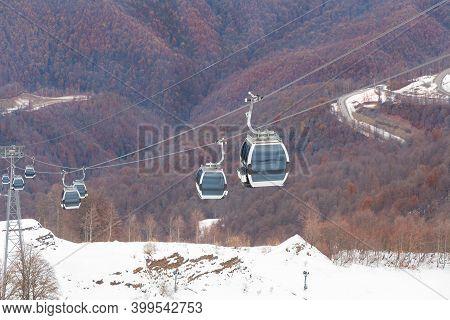 Empty Ski Slope In Winter And Blue Sky. Prepare Your Ski Slope.