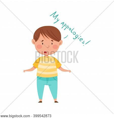 Confused Little Boy Feeling Sorry And Expressing Regret Vector Illustration