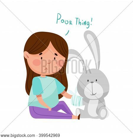 Sad Girl Feeling Pity About Fluffy Hare Toy With Bandaged Paw Vector Illustration