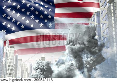Big Smoke Column In The Modern City - Concept Of Industrial Accident Or Terroristic Act On Usa Flag