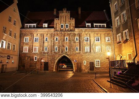 Gdansk, Poland - 17 Sep 2015: The Vintage House In Gdansk In Northern Poland At Night