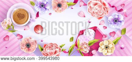 Valentine's Or Mother's Day Floral Vector Background With Heart, Anemones, Peony Flowers, Coffee Cup
