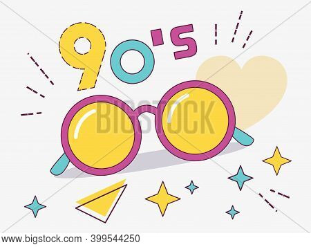 Retro Design Of Round Glasses. Women's And Men's Accessories Collections Of The 80's-90's.  Optics,