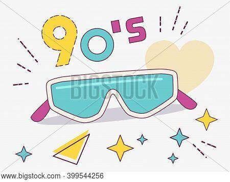 Retro Design Of Ski Glasses. Women's And Men's Accessories Collections Of The 80's-90's.  Optics, Vi