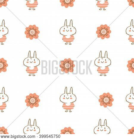 Seamless Pattern With Cute Cartoon Bunny In Dress On White Background. Wallpaper With Cheerful Rabbi