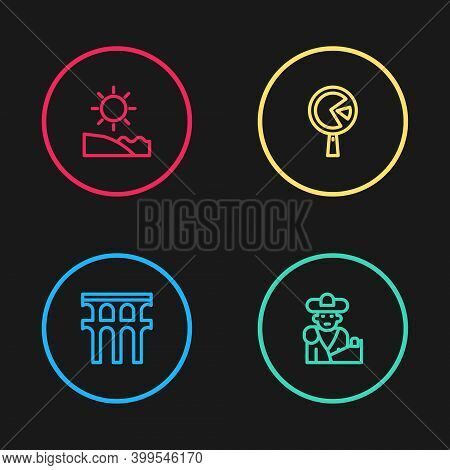 Set Line Aqueduct Of Segovia, Bullfight, Matador, Omelette In Frying Pan And Beach Icon. Vector