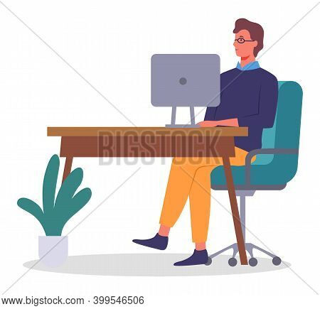Vector Flat Illustration Of Business Person Sitting At Table In Office And Working. Businessman Usin