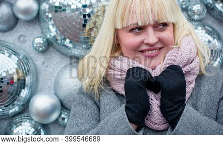Beautiful Mature Woman On A Walk In The City. Winter Time. A Nice Middle Aged Plus Size Woman Standi