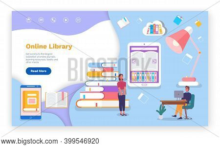 Online Library, Website, Landing Page Concept, Electronic Books, E-books, Read Literature In Smartph