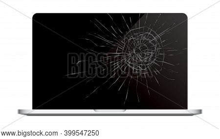 Laptop With A Cracked Screen. Vector Illustration.