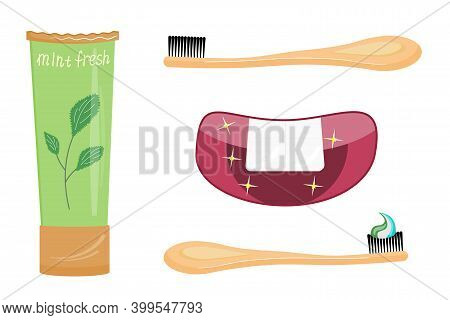 Set Of Toothpaste And Brush, Clean Mouth Isolated On White Background. Mint Paste Gives Freshness An