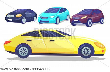 Automobile Collection, Set Of Colorful Modern Cars, Automobiles From Front And Side, Vehicle Of Ever