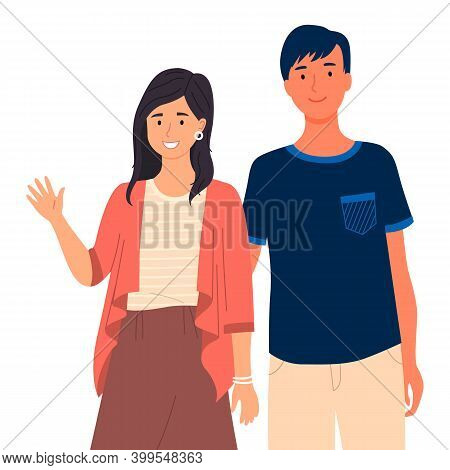 Young People In Casual Clothes Isolated On White Background. Friends Guy And Girl, Couple In Love. S