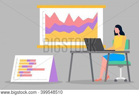 Analysing Graphics, Charts, Business Analytics, Woman Work At Laptop Sitting At Table, Developing Fi