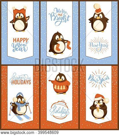 Merry Christmas Penguins Skiing Hobby Cards Set Vector. Skier Wearing Knitted Scarf, Animal Eating I