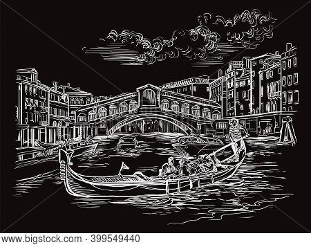 Venice Hand Drawing Vector Illustration Rialto Bridge Black