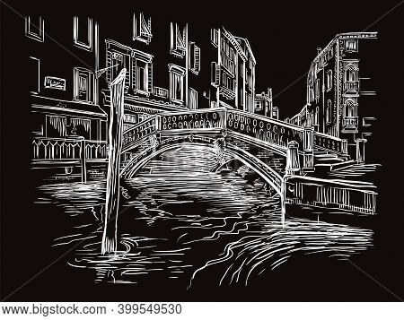 Venice Drawing Vector Illustration Canal And Bridge Black