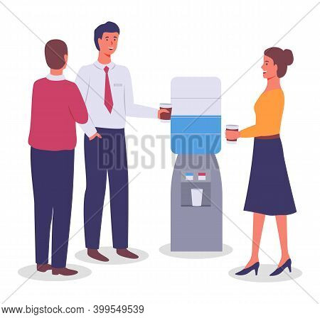 Vector Flat Illustration Of Office Workers Standing Near Water Dispenser Or Water Cooler, Holding Pa