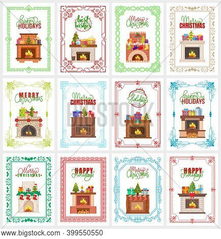 Merry Christmas Set Of Greeting Cards With Fireplace Vector. Bauble With Text, Reindeer Print On Soc