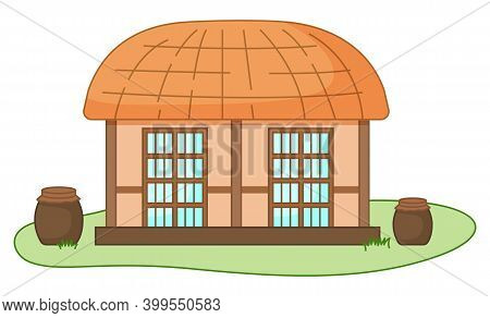 Asian Village Old House Vector Illustration. Thatched-roof Rural Building Standing On Green Grass. T