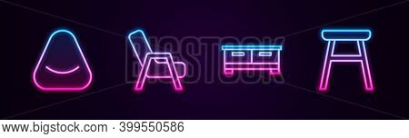 Set Line Pouf, Armchair, Chest Of Drawers And Chair. Glowing Neon Icon. Vector