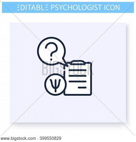 Psychologist Questions Line Icon.questionnaire. Psychological Test. Psychologic, Cognitive Problems