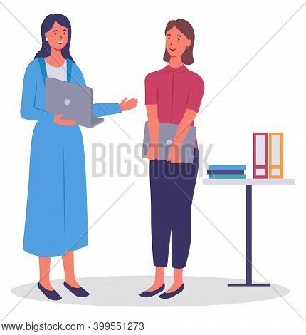 Office Workers. Colleagues Communicating. Woman With Laptop And Colleague With Open Computer Talking