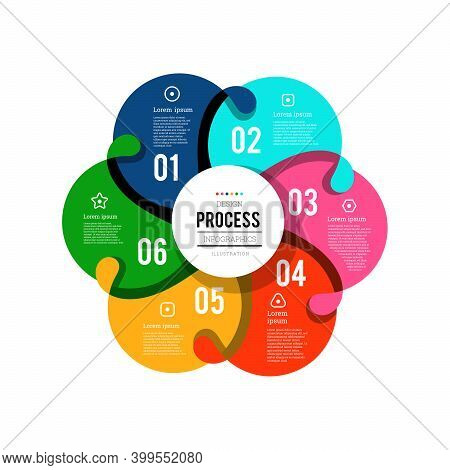 Circular Infographics Showing The Process Of 6 Steps Flowing From One To Another. Vector Illustratio