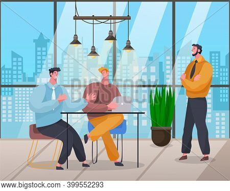 Workers In Office With Panoramic Windows City View, Young Guy Talking With Colleagues, Man Listening