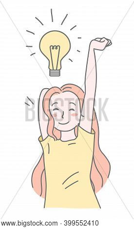 Pretty Girl With Lamp Bulb. New Creative Idea Concept, Solution Of Problem. Founding New Idea, Inspi