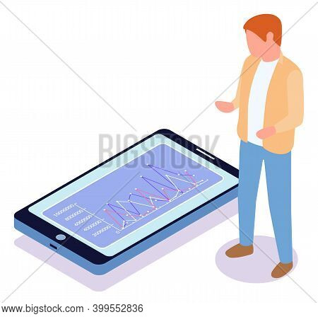 Man Estimates Demand Indicators On The Screen Of A Mobile Phone Using A Special Application. Busines