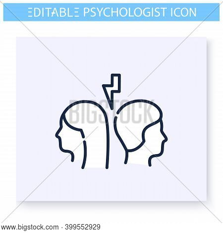 Relationship Problem Line Icon. Relational Conflict, Quarrel, Dissension. Family Psychotherapy. Ment