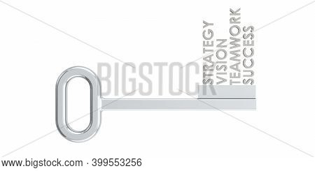 Silver Key With Success Values, 3d Rendering