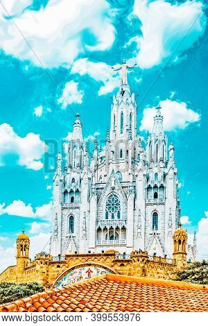 Temple On Top Of Mount Tibidabo, The Temple Of The Sacred Heart. Barcelona.spain.