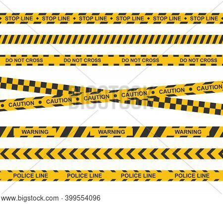 Set Of Yellow Caution Tape. Crime Warning Ribbons. Caution, Warning, Stop, Police Lines.