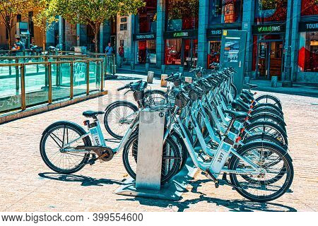 Square Plaza Ramales Of Madrid In The Downtown With Bicycles In