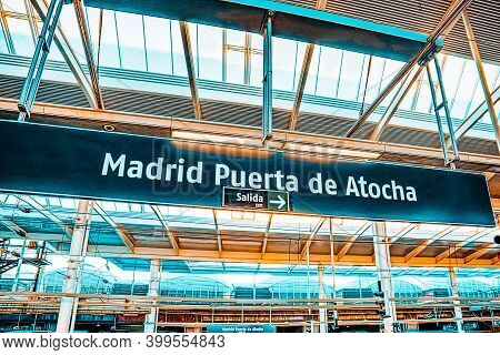 Interior Of The Railway Station Of Puerto De Atocha In Madrid.