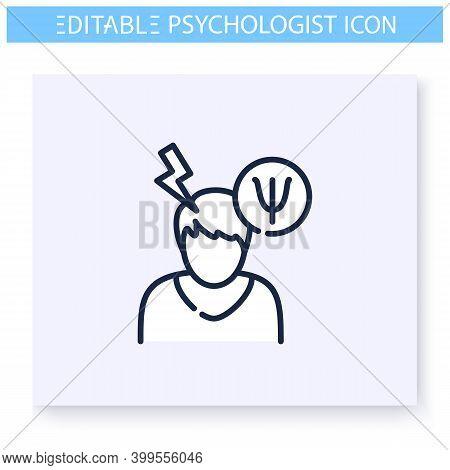Psychological Problem Line Icon. Emotional, Cognitive Or Behavioural Disorder. Psychotherapy. Mental