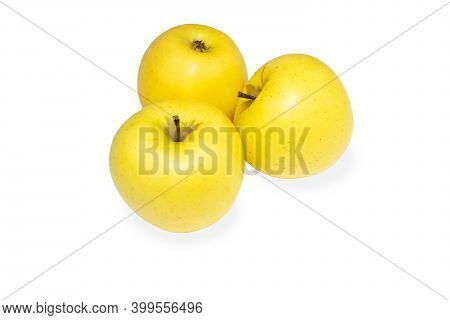 Three Sweet And Juicy Yellow Golden Apples Isolated On White Background.