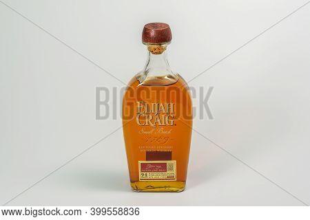 Thessaloniki, Greece - December 14 2020: Elijah Craig Alcoholic Bourbon Drink On Display. Small Batc