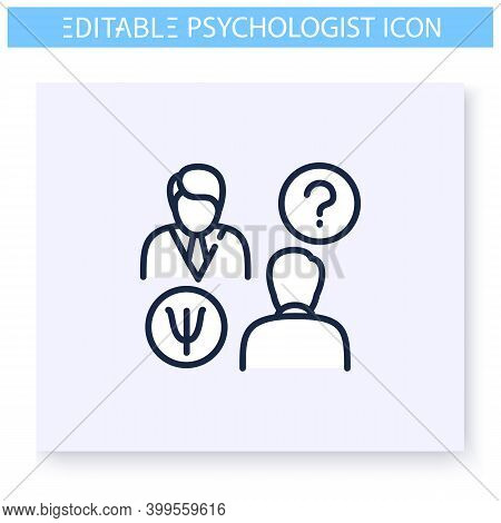 Psychological Consultation Line Icon. Psychiatrist. Psychologic, Cognitive Problems. Psychotherapy.