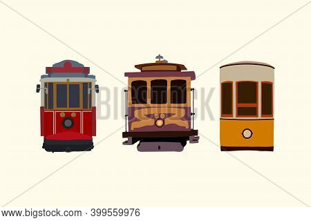 Set Of Retro Tram. Vintage Car Detailed Urban Transport. Electric Vehicles In The City. Transport Co