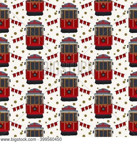 Pattern Of An Old Red Tram. Cute Tramcar Vehicles For City Trips Are Festive. Streetcar Electric Car