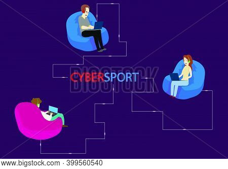 Isometric Cybersports Competition. Cybersport Competition With Winner Cup. Cybersport Arena With Gam