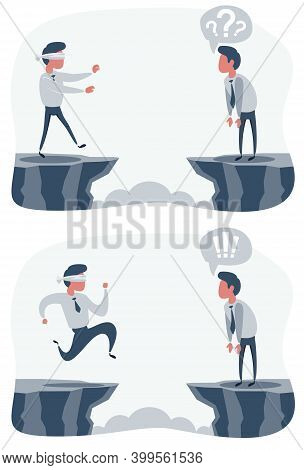 Man Walk To The Cliff. Blindfolded Businessman Run To The Cliff. Business Concept. Vector Flat Desig