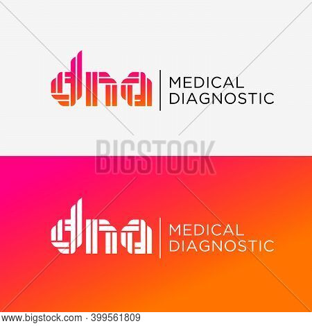 Dna Medical Diagnostic Logo. D, N, A  Letters Consist Of Double Ribbons Or Strips. Logo Can Used For